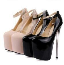 Fashion Womens Super High Heels Platform Pumps Ankle Strap Stiletto Pumps Shoes