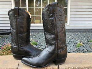 Vintage Tony Lama Black Label Calfskin Leather Cowboy Boots Size 8.5 EE #6711