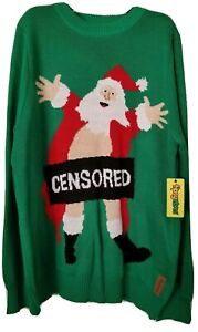 Tipsy Elves Mens Large Censored Santa Ugly Christmas Sweater Double Sided NWT