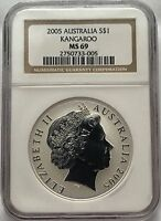 Australia 2005 Silver Kangaroo NGC MS 69  Australian Coin MS69