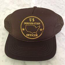 Vtg 80s US Immigration Officer Adjustable Snapback Mesh Trucker Hipster Hat Cap