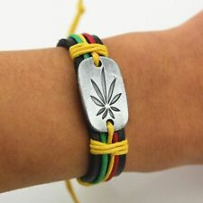 Leather Surfers Wristband Bracelet Marijuana Weed Leaf Hemp Tribal Rasta