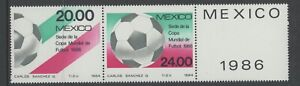 MEXICO, MINT, #1373a, OG NH, PAIR + LABEL, SOCCER, CLEAN, SOUND & CENTERED