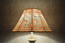 Peacock pattern Floor Lamp shade | Handmade Leather Aber Red Colour Garden shade