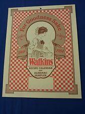 Excellent vintage collectable Watkins 1984 recipe calendar almanac sampler NOS