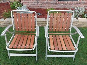 2 Vintage Aluminum Redwood 6 Slat Folding Patio Lawn Chair Furniture