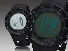 Ohsen Mens Waterproof Military Alarm Stopwatch Sport Quartz Digital Watch Black
