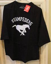 Men's Medium Calgary Stampeders Cotton CFL Football T Shirt Black w/ White Horse