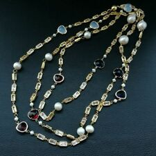 """Crystal Chain natural White Keshi Pearl  Long 70""""Necklace"""