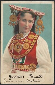 AX3257 Donna in Costume tipico - 1908 Cartolina postale - Vintage Postcard