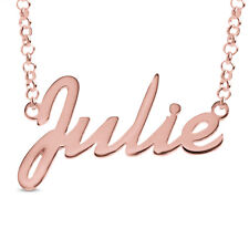 Julie Name Necklace Gold Rose Gold Plated Sterling Silver Pendant Nameplate