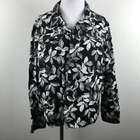 Croft Barrow XL Light Jacket BlacK White Foliage Button Up Unlined Linen Blend
