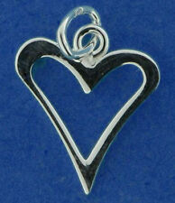 ONE SMALL STERLING SILVER 925 WILD POINTED OPEN HEART CHARM, 12 MM