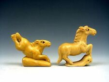 *Ship From U.S* 2 Solid Boxwood Hand Carved Netsuke Sculptures Running Horses