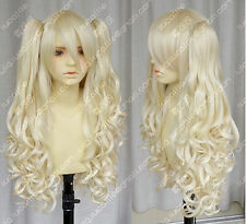 Vocaloid / seeU light blonde cosplay long curly wig + 2 clip on ponytail   g52