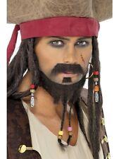 SET BARBA PIRATA MARRONE 3 PZ Carnevale Smiffy's Jack Sparrow Pirates 115 38060