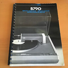 Revox B790 Turntable Repair / Service Manual Schematics Factory Original!