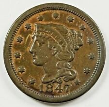 1847 LARGE CENT VF+