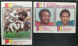 1973 Topps O.J.Simpson lower grade 2 card lot, #500 & #1 Leaders- VG