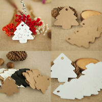50pcs Kraft Paper Christmas Tree Hanging Tags Xmas Party Decor Gift Cards Labels