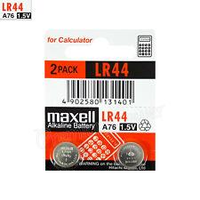 2 x Maxell Alkaline LR44 batteries 1.5V A76 AG13 303 357 L1154 SR44 Pack of 2