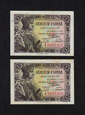 F.C. PAREJA CORRELATIVA 1 PESETA 1943 , SERIE I , S/C- , MARGENES SUCIOS .