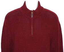 Eddie Bauer Dark Red 100% Cotton 1/4 Zip Pullover Sweater Men's MEDIUM