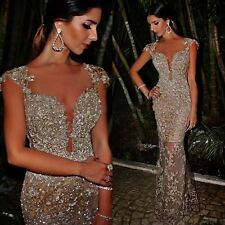 Luxury Scalloped Floor-Length Evening Dress Beading Tulle Party Formal Dresses