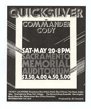 Quicksilver Messenger Service Commander Cody 1972 May 20 Sacramento Handbill