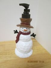 """Festive Frosty The Snowman -Ceramic Soap Dispenser- by Traditions- 8"""" tall-New"""