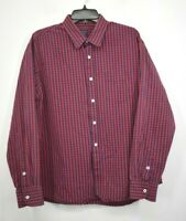 Untuckit Men Red Blue Mini Check Long Sleeve Button-Up Business Dress Shirt XL