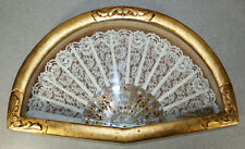 Vintage White Lace Hand Fan in Handmade Wooden Shadow Box