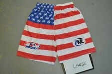 Size Adult LARGE USA Hockey American Flag Lacrosse LAX Shorts w/ Pockets