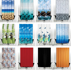 Extra Wide Fabric Shower Curtains, Different Designs, 240CM Wide by 180CM Drop