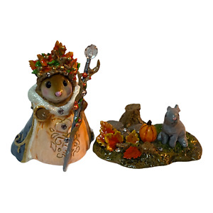 Wee Forest Folk Special Autumn Queen and Her Autumn Bunny with Pumpkin