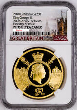 Great Britain UK 2020 £200 King George III Royalty 2 oz Gold Coin NGC PF70 F.Day