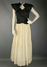 VTG Women's 40s Long Black & Cream Lacy Dress Sz XS #3046 1940s