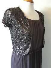 BNWT Mamas & Papas Grey Maternity Maxi Dress w Sequin Shurg Evening Party Formal