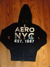 NWT Aeropostale NYC black zip up hoodie hooded jacket coat