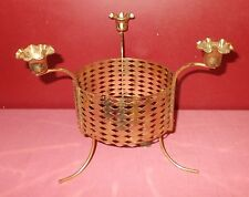 Vintage Gold Metal CANDLE HOLDER CENTERPIECE 1960s Tapers Bowl Holder