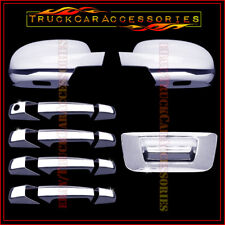 For Silverado & Sierra 2007-2013 Chrome Covers Set Mirrors+4 Doors+Tailgate w/o