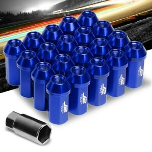 J2 Blue Close End Acorn Tuner 25MM OD/50MM M12x1.50 20 Pcs Lug Nuts Set+Adapter