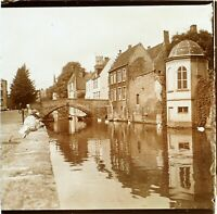 BELGIQUE Bruges Pont du Cheval, Photo Stereo Vintage Plaque Verre VR3L6