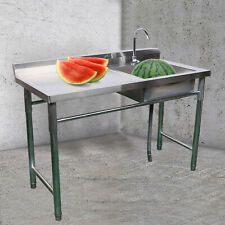 Stainless Steel Commercial Sink Single Bowl 1 Compartment Kitchen Prep Table