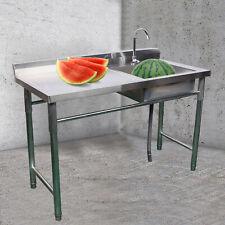 1 Compartment Stainless Steel Prep Sink Utility Sink Kitchen Sink W Drain Board