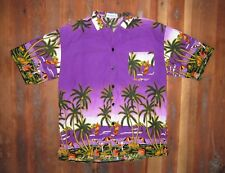 Vtg 90s Fun Wear Bright Purple Wind Surfing Shirt Hawaiian Surf Vacation Sz Lar