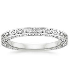 0.10Ct Delicate Antique Scroll Round Diamond Half Eternity Ring 18k White Gold