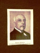 Antonio Salandra nel 1928 Ex Presidente del Consiglio in Italia
