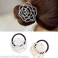 Rhinestone Crystal Rose Flower Hairband Hair Tie Ponytail Holder Accessories NEW
