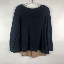 Women's COS Tunic Blue Tan Two Toned Long Sleeve Shirt Top Size XS